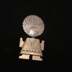 Native American Sterling Silver Zuni Pin/Pendant